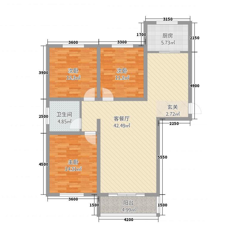 黄海外滩32132.20㎡C户型3室2厅1卫1厨