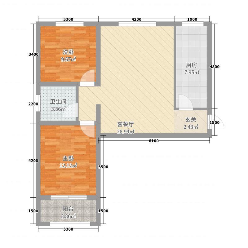 黄海外滩221.82㎡I户型2室2厅1卫1厨