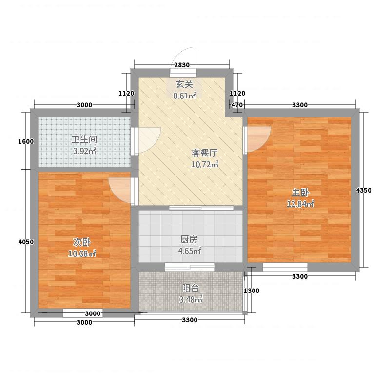 红胜花园363.77㎡(3)户型2室1厅1卫1厨