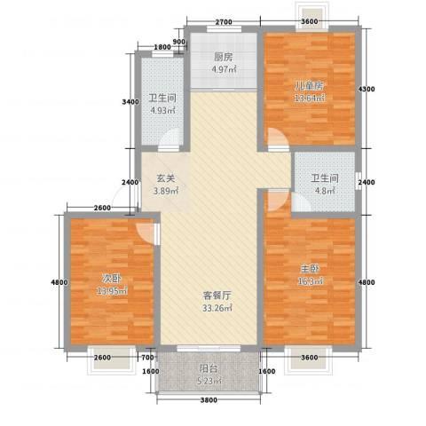 碧水新城-秀水苑3室1厅2卫1厨110.09㎡户型图