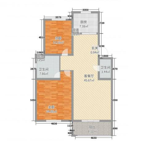 江南春天2室1厅2卫1厨156.00㎡户型图
