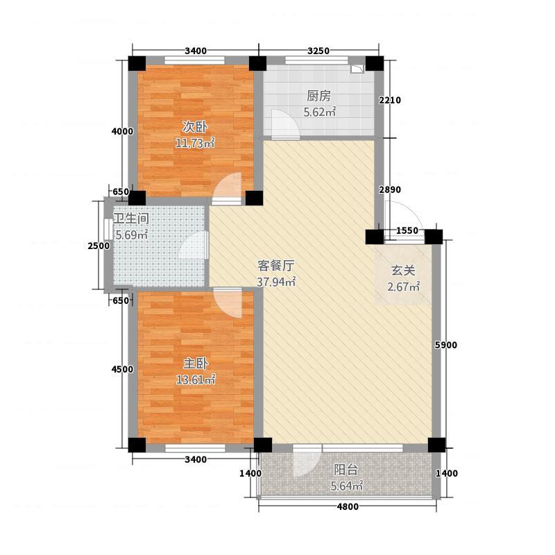 中天壹品12.20㎡1户型2室2厅1卫1厨