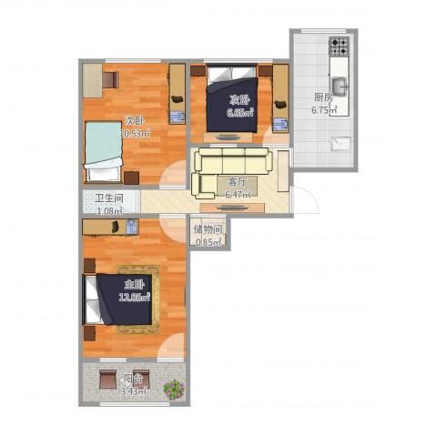 陈庄大街宿舍3室1厅1卫1厨66.00㎡户型图