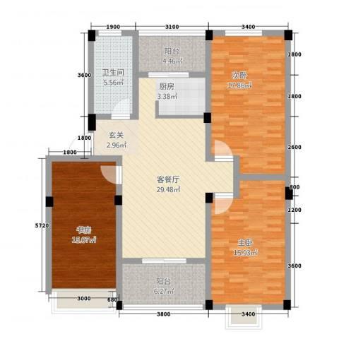 嘉元玉兰庭3室1厅1卫0厨3112.00㎡户型图
