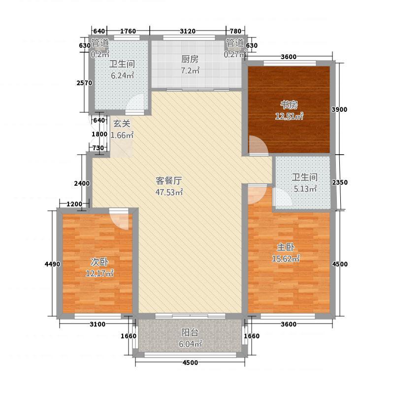 百合苑3212.20㎡户型3室2厅2卫1厨