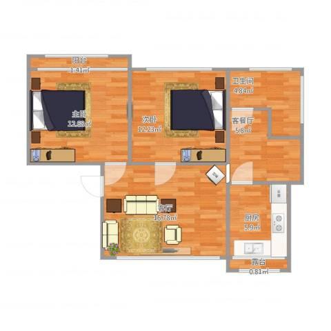南湖新村2室2厅1卫1厨81.00㎡户型图