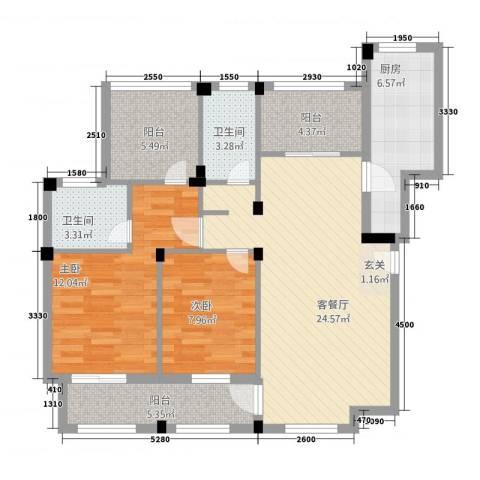龙隐水庄2室1厅2卫1厨72.94㎡户型图
