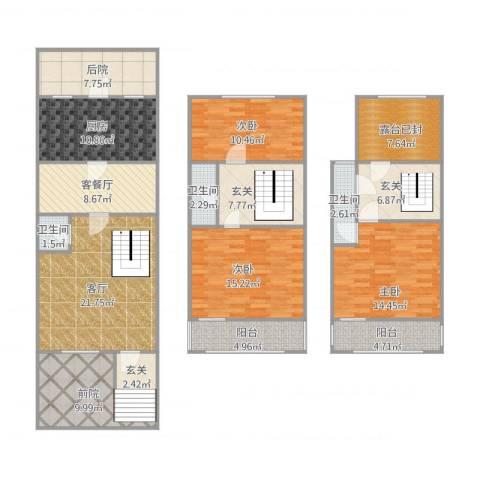 万科新城琴竹苑3室2厅3卫1厨190.00㎡户型图