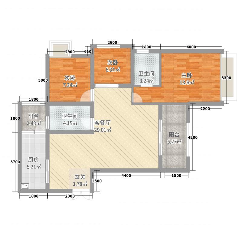 天仙湖・莱茵半岛1.62㎡莱茵单页--C户型3室2厅2卫1厨