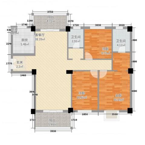 东湖京华3室1厅2卫1厨3137.00㎡户型图