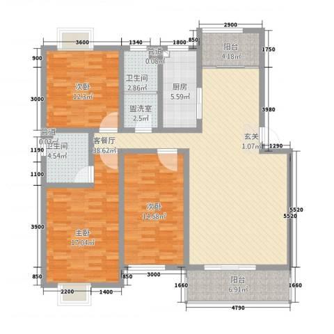 丰林花园3室2厅2卫1厨6313.00㎡户型图