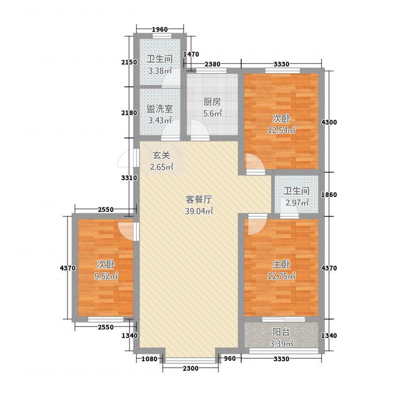 丽景花园131.58㎡多层B户型3室2厅2卫1厨