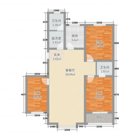 丽景花园3室2厅2卫1厨132.00㎡户型图