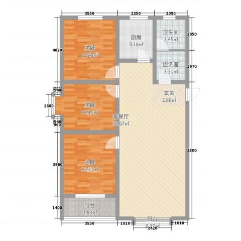 丽景花园3室2厅1卫1厨125.00㎡户型图