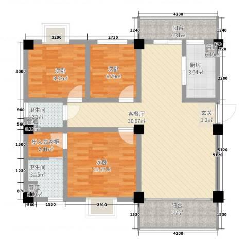 丽江映像3室1厅2卫1厨80.17㎡户型图