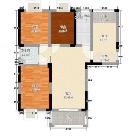 曼哈顿MOMA国际社区3室2厅1卫1厨71.11㎡户型图