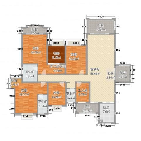 南国豪苑5室1厅3卫1厨224.25㎡户型图