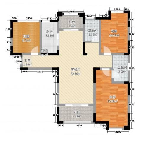永华滨江名城2室1厅2卫1厨113.00㎡户型图