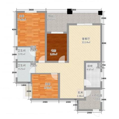 林语江畔3室1厅2卫1厨137.00㎡户型图