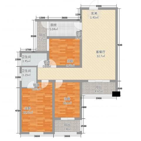 林语江畔3室1厅2卫1厨133.00㎡户型图