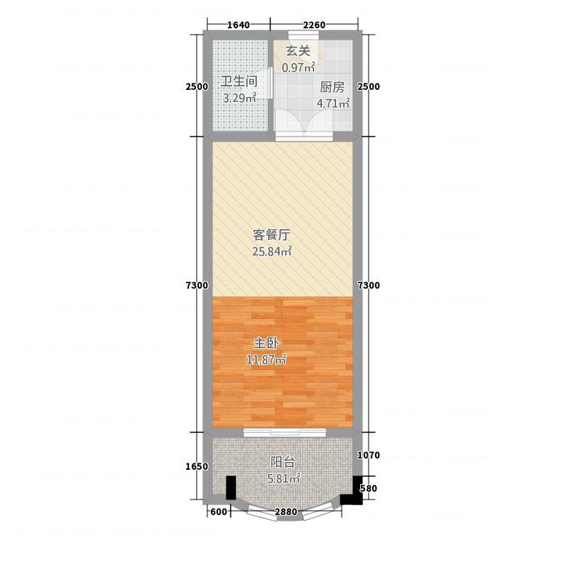 三山岛滨海公馆4.20㎡A、J座公寓户型1室1厅1卫1厨