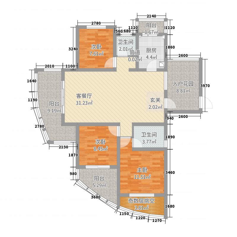 东方今典137.82㎡三期河悦GA1b户型3室2厅2卫1厨