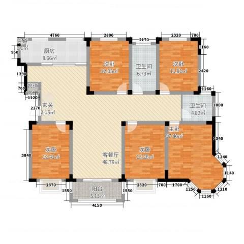 东方花园5室1厅2卫1厨522.00㎡户型图
