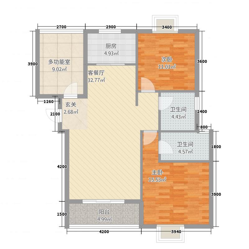 时代天骄32111.52㎡H户型3室2厅2卫1厨