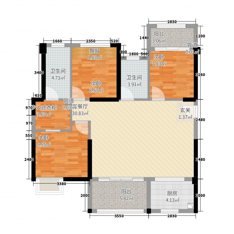 中骏愉景湾1118.20㎡G1#、4#、5#、8#楼户型3室2厅2卫1厨