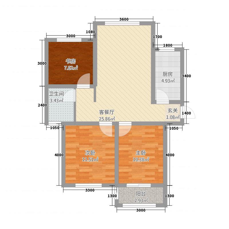 三山岛滨海公馆7.44㎡FLK座C户型3室2厅1卫1厨