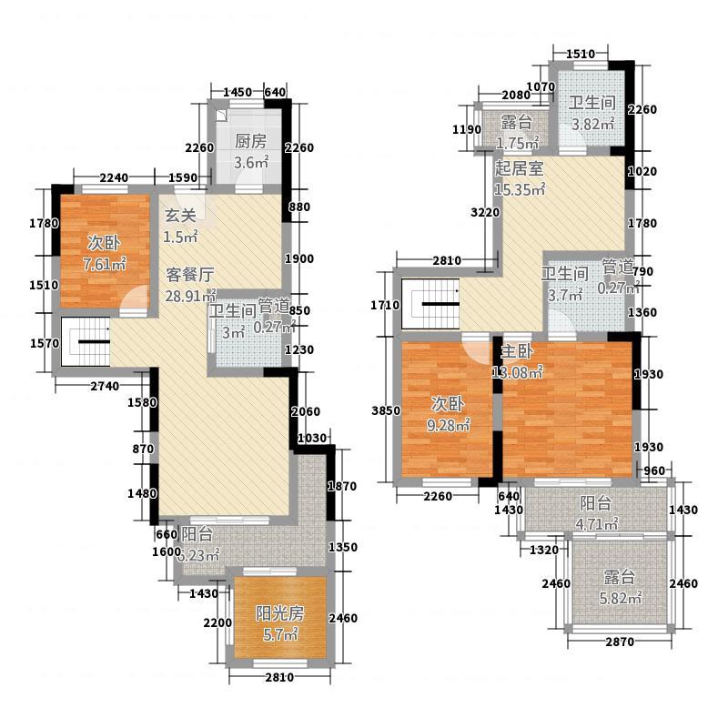 维也纳湖畔21168.32㎡三期A2-1户型4室3厅3卫1厨