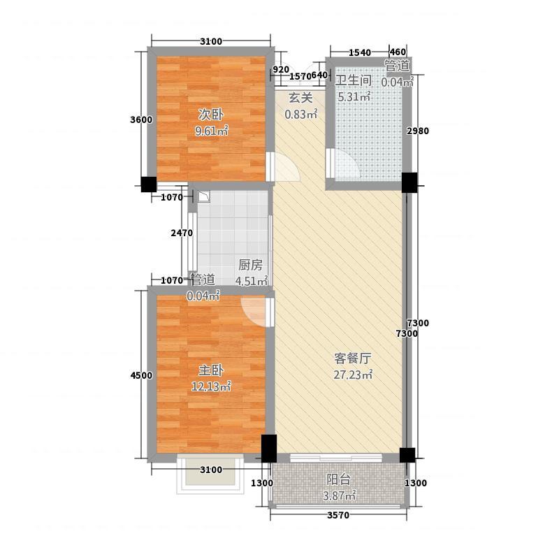 东港综合市场B户型2室2厅1卫1厨
