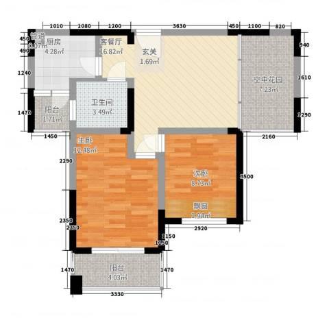 博海尚城2室1厅1卫1厨86.00㎡户型图