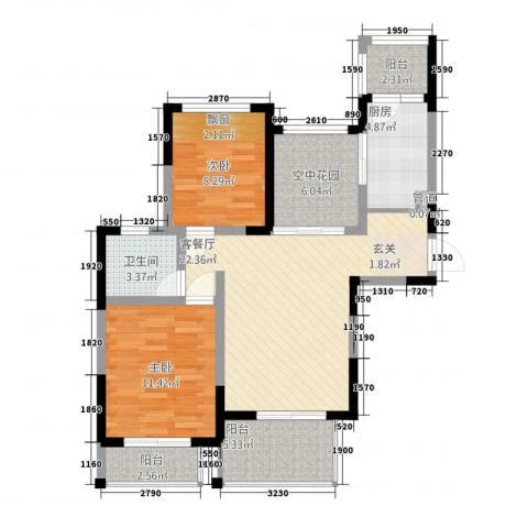 博海尚城2室1厅1卫1厨66.62㎡户型图