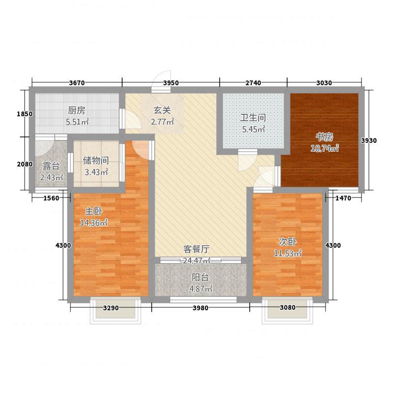 银海花园23.20㎡A2户型3室2厅1卫1厨