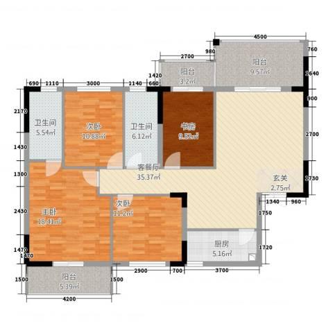 中源大厦4室1厅2卫1厨168.00㎡户型图