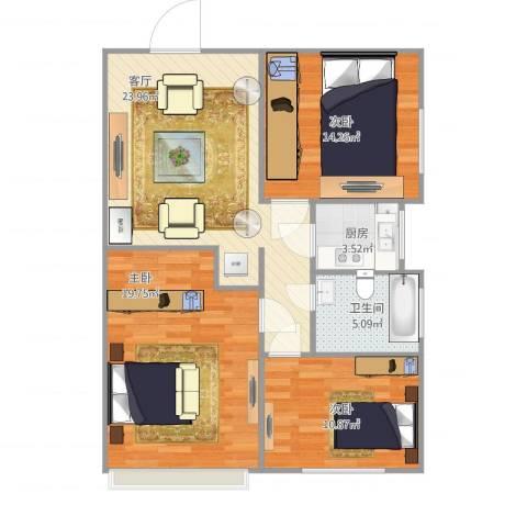 西罗园南里3室1厅1卫1厨104.00㎡户型图
