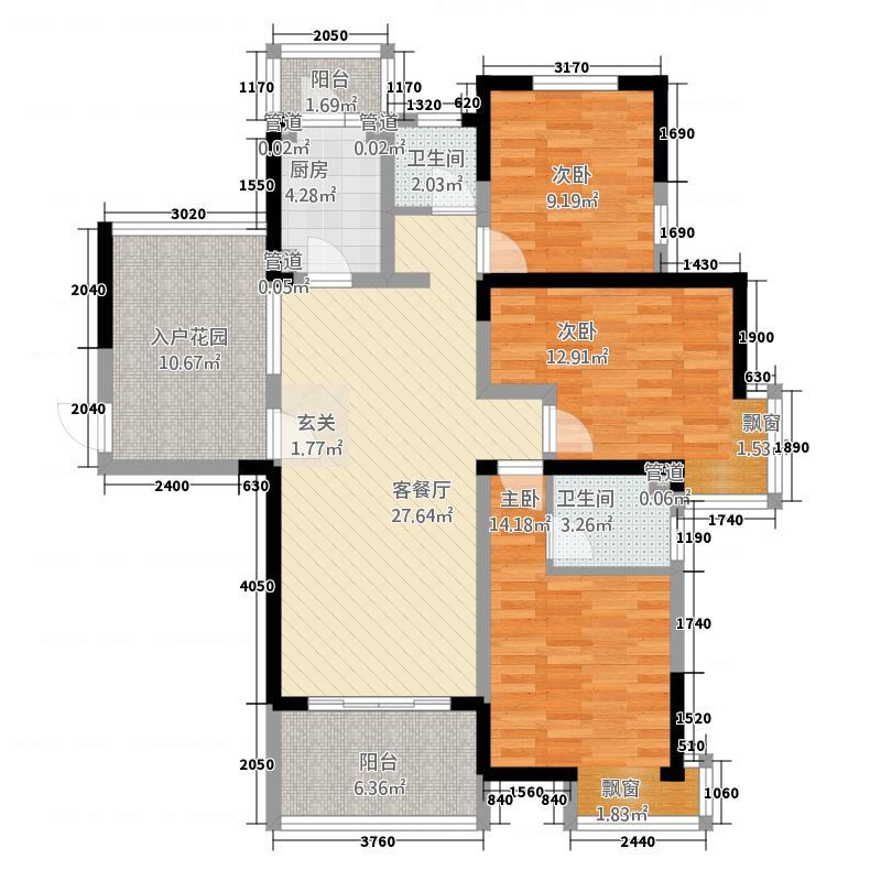 东方今典134.75㎡三期河悦GA2户型3室2厅2卫1厨