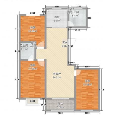 东辉缘3室1厅2卫1厨147.00㎡户型图