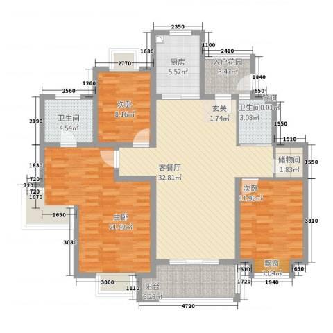 罗马假日3室1厅2卫1厨144.00㎡户型图