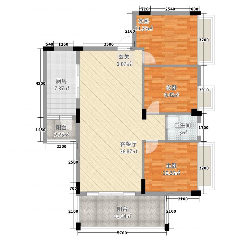 华浩国际城5118.20㎡一期5座标准层06户型3室2厅1卫