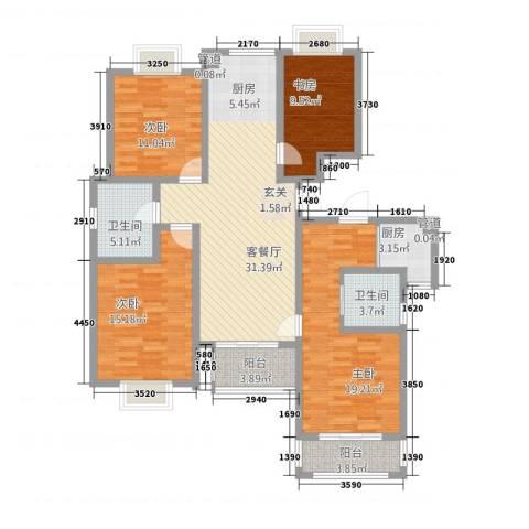 大德世家德信商业广场住宅4室1厅2卫1厨154.00㎡户型图