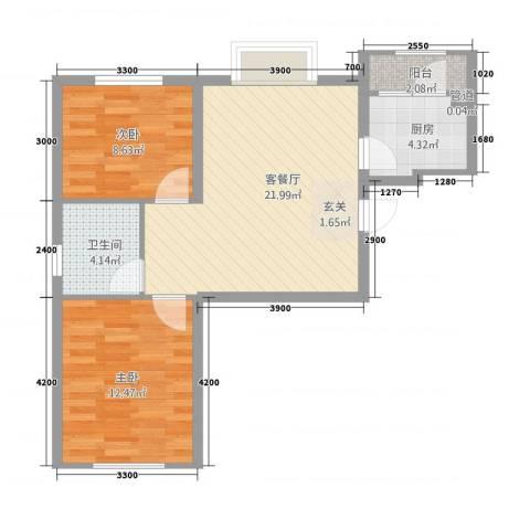 颐景园2室1厅1卫1厨2288.00㎡户型图