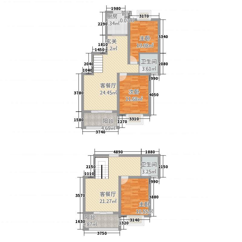 银河新都143.00㎡六期03、05、0顶楼复式户型3室3厅2卫1厨