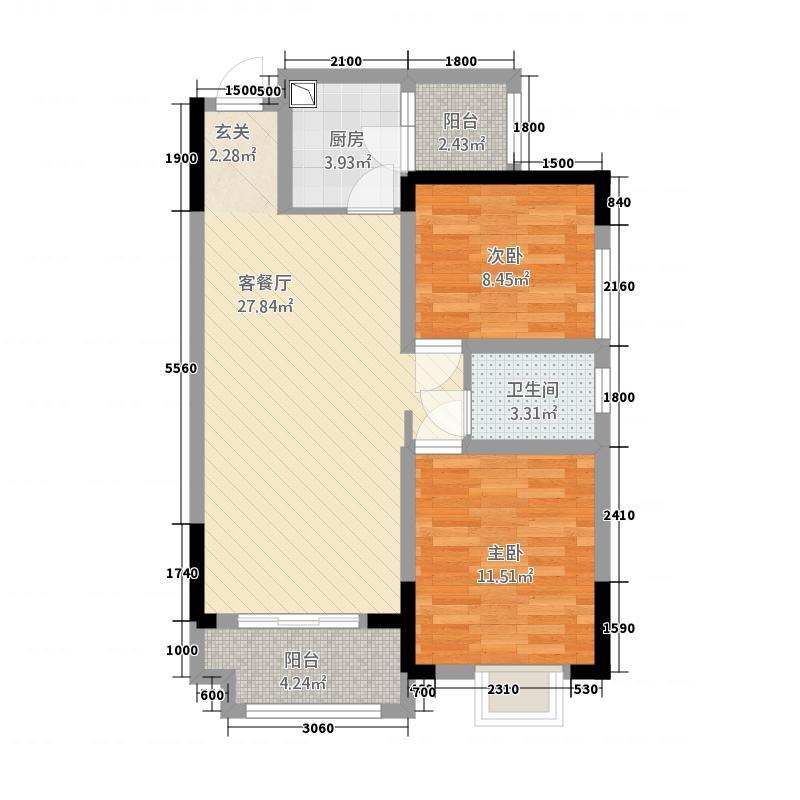 黔龙阳光国际83.82㎡未标题-户型2室2厅1卫1厨