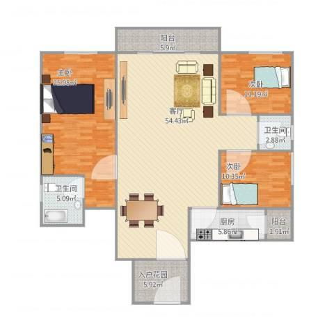 保利花园二期3室1厅2卫1厨173.00㎡户型图