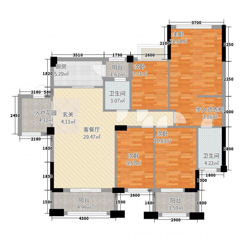 钜隆风度花园173.20㎡17栋03户型4室4厅4卫1厨