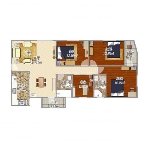 莲花广场4室1厅2卫1厨136.00㎡户型图