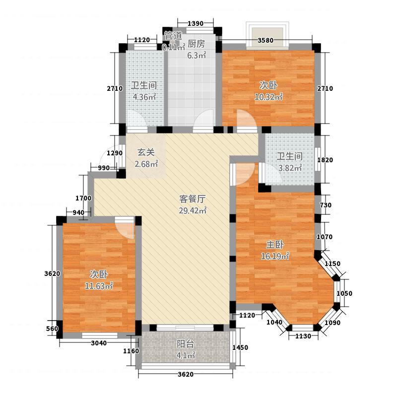 梧桐广场124.40㎡B型户型3室2厅2卫1厨