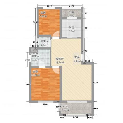 江南春天2室1厅2卫1厨86.00㎡户型图